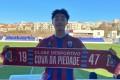 Leung Yau-wai poses with new team Cova da Piedade merchandise at the Estadio Municipal Jose Martins Vieira. Photo: Eastern
