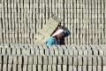A Nepalese worker carries uncooked bricks at a factory. File photo: EPA