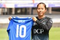 Bala Devi poses with her new number 10 Rangers jersey. Photo: Handout