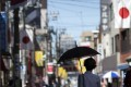 National flags in the Sugamo shopping district of Tokyo celebrate Respect for the Aged Day. Photo: Getty Images