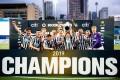 Newcastle United celebrate winning the HKFC Citi Soccer Sevens in 2019. Photo: Eurasia Sport Images/HKFC Citi Soccer Sevens 2019