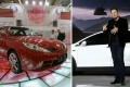 A Geely car (left) in Frankfurt in 2005, and Tesla CEO Elon Musk with a Tesla Model X in California in 2015. Photos: Getty Images/Business Insider.