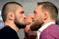 Lightweight champion Khabib Nurmagomedov faces former double champion Conor McGregor during the UFC 229 press conference in 2018. Photo: AFP