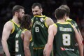 Australia star Andrew Bogut (centre) chats with teammates during their Fiba World Cup semi-final against Spain in Beijing in September, 2019. Photo: AP