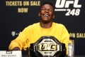 Israel Adesanya talks during a press conference for UFC 248. Photos: AFP