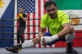 Manny Pacquiao trains at the Wild Card Boxing gym, Los Angeles ahead of his welterweight title fight against Keith Thurman in 2019. Photo: AFP