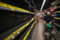 Empty shelves as Hong Kong supermarkets struggle to restock amid a buying frenzy over fears that the coronavirus outbreak will shut off supplies, in Lok Fu on February 7. Photo: Edward Wong