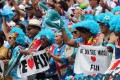 Fiji fans cheer on their team at the 2019 Cathay Pacific/HSBC Hong Kong Sevens. Photo: SCMP