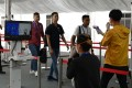 A medical staff member takes the temperature of visitors to the Singapore Airshow amid fears over the spread of the Covid-19 coronavirus. Photo: AFP