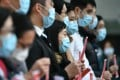 Medical workers hold a strike near Queen Mary Hospital on February 3, demanding Hong Kong close its border with China to reduce the spread of the novel coronavirus. Photo: AFP