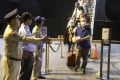 Passengers disembark from the Westerdam cruise ship at the port of Sihanoukville in Cambodia on February 15, 2020. Photo: Kyodo
