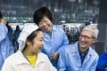 Apple CEO Tim Cook visits AirPods Chinese supplier Luxshare Precision Industry in December 2017. Photo: Weibo