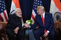 US President Donald Trump meets Indian PM Narendra Modi on September 24, 2019 at the UN Headquarters in New York. File photo: AFP