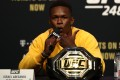 Israel Adesanya talks during a press conference for UFC 248 in Houston. Photos: AFP