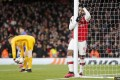Arsenal's Alexandre Lacazette reacts after a missed chance during the Europa League round of 32 match against Olympiakos. Photo: AP