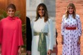 Three of Melania Trump's outfits from her trip to India. Photos: AFP, AP and PTI/DPA