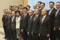 Chief Executive Carrie Lam Cheng (front row centre) and her cabinet. Photo: Xiaomei Chen