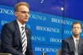 Acting US Navy Secretary Thomas Modly (left) and moderator Michael O'Hanlon, a senior fellow at the Brookings Institution, on Friday in Washington. Photo: Mark Magnier