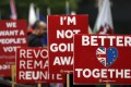 Pro-EU banners in London last April. In an ideal world, Brussels and London would cooperate in engaging Asia. Photo: AP