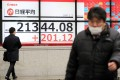 A financial board in Tokyo shows the Nikkei Stock Average recently. Photo: Kyodo