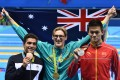 Gold medal winner Mack Horton with Sun Yang and Gabriele Detti of Italy after the men's 400m freestyle final at the 2016 Rio Olympics. Photo: EPA