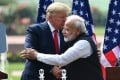 US President Donald Trump and India's Prime Minister Narendra Modi hug during a press conference in New Delhi, India, on February 25. Photo: AFP