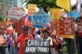 Protesters in front of the Chinese consulate in Manila in 2019. Photo: Ted Aljibe / AFP