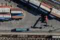 Aerial photo taken on March 5, 2020 shows containers at a logistic station of Shenyang East Railway Station in Shenyang, northeast China's Liaoning Province. Photo: Xinhua