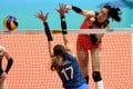 China's Zhu Ting spikes the ball as her side beats Argentina at the FIVB Volleyball Nations League 2018 in Hong Kong. Photo: Xinhua