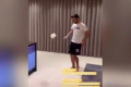 Bruno Hernandes doing the '10-touch challenge' with a roll of toilet paper. Photo: Instagram