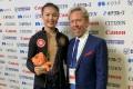 Kahlen Cheung (left) with coach Craig Heath at the 2020 ISU Junior World Figure Skating Championship. Photo: Handout