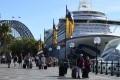 Cruise ship passengers disembark from the Ruby Princess at Circular Quay in Sydney. Photo: dpa