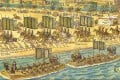 An illustration from China Through Time: A 2,500 Year Journey Along the World's Greatest Canal. In the book, children are taken on a time-travelling journey into Chinese history.