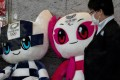 Tokyo 2020 mascots Miraitowa and Paralympic on March 13, 2020. The Olympics was officially postponed overnight. Photo: Reuters