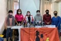 The Hong Kong Federation of Asian Domestic Workers Unions (FADWU) at press conference to urge the government to specify arrangements for domestic helpers whose employers undergo home quarantine. Photo: Fiona Sun