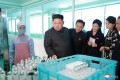 North Korean leader Kim Jong-un and his wife visit a cosmetics factory in Pyongyang. Another manufacturing sector, apparel, employs thousands in North Korea and contributes significantly to its exports. Photo: KCNA/via Reuters