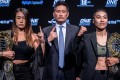 One Championship CEO Chatri Sityodtong is flanked by Angela Lee (left) and Xiong Jingnan ahead of their rematch in Tokyo. Photos: One Championship