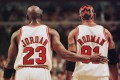 Chicago Bulls players Michael Jordan and Dennis Rodman during the NBA Eastern Conference semi-finals in May 1998. Photo: AFP
