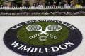 A Wimbledon logo inside the grounds at the Wimbledon tennis championships in London. Photo: Reuters