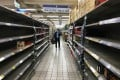 Empty shelves at a Carrefour supermarket in Taiwan following the coronavirus outbreak. Photo: Reuters