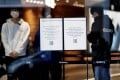 'Closed' notices are displayed at the entrance of Galaxy Harajuku, a flagship store of the Galaxy brand mobile computing devices by Samsung Electronics, during the coronavirus disease outbreak, in Tokyo, Japan March 26, 2020. File photo: Reuters