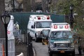 Ambulances are seen outside an emergency field hospital in New York's Central Park on Wednesday. Photo: Reuters