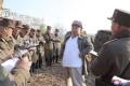 North Korean leader Kim Jong-un supervises a mortar firing drill in North Korea in a photo released on April 10, 2020. Photo: KCNA/Korea News Service via AP
