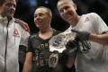 Rose Namajunas celebrates with the belt after defeating Joanna Jedrzejczyk at UFC 217 at Madison Square Garden. Photo: USA TODAY Sports