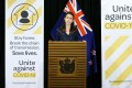 New Zealand's Prime Minister Jacinda Ardern gives a Covid-19 update to media on April 5. Photo: Xinhua