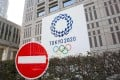 A no entry sign in front of a Tokyo government building with a banner for the 2020 Olympic Games. Photo: SOPA Images