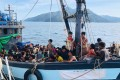 A boat carrying suspected Rohingya migrants was detained in Malaysian territorial waters off the island of Langkawi on April 5. Photo: Malaysian Maritime Enforcement Agency/AP