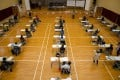 Students are well spaced out for the visual arts exams on Friday morning. Photo: Pool