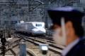 A Shinkansen bullet train arrives at Tokyo Station on Saturday. Photo: AFP
