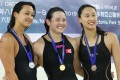 Jasmine Alkhaldi, Siobhan Haughey and Camille Cheng at the Hong Kong Swimming Open 2019. The trio are among some of Asia's best featured in an Instagram video. Photo: Edward Wong